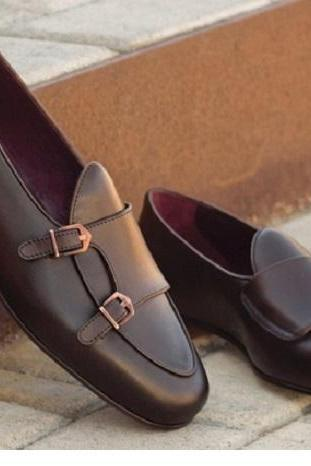 New Handmade Dark Oxblood Hand Painted Calf Monk Straps Belgian Loafers