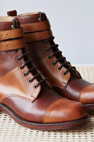 Men New Awesome Trendy Double Buckle High Ankle Brown Ranger Formal Boot