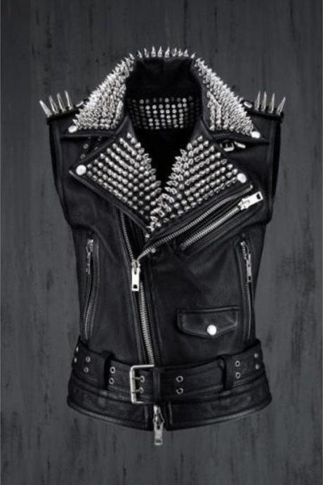 Handmade Men Rock Punk Style Belted Leather Vest, Biker Studded Jacket
