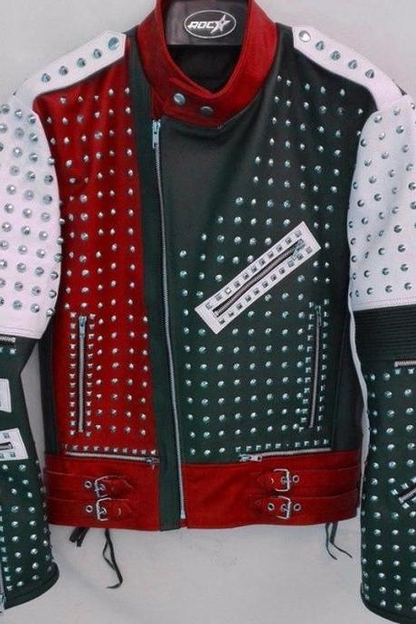 Unique Design Full Studded Biker Leather Coat Jacket Multicolor Custom Made