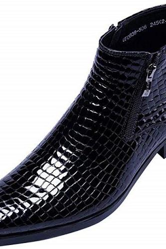 Men's Handmade Men's Ankle Patent Leather Fashion Plaid Zipper Pointed Toe Casual Boots