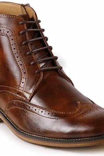 New Handmade Men's Brown Wing Tip Lace up Ankle Dress Oxford Boot