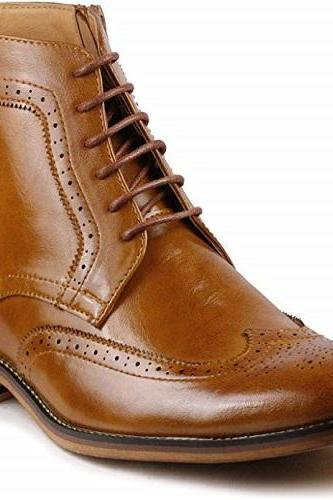 New Handmade Men's Tan Wing Tip Lace up Ankle Dress Oxford Boot