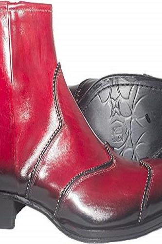 New Handmade Men Italian Red Leather Ankle Boots with Silver Decorations, Zipper