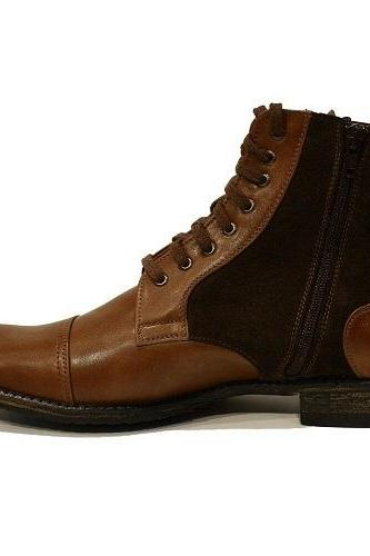 Men's Handmade Italian Brown Ankle Boots, Men Cowhide Smooth Leather