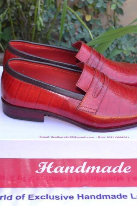 Men's Handmade Leather Shoes, Formal Crocodile Texture Leather Men Red Shoes