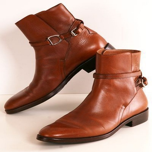 Jodhpur Tan Tone Magnificiant Real Leather Mens High Ankle Buckle Strap Boots